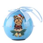 Blue Twinkling Lights Christmas Tree  Ball Ornament home decor Dog Puppy,Yorkie (ORNDOG404)