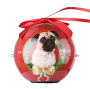 Red Twinkling Lights Christmas Tree  Ball Ornament home decor, Pug (ONRDOG415)