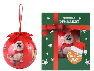 Red Christmas Tree Ball Ornament home decor, Puppy Christmas Hat (ORNDOG105)