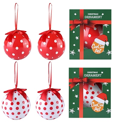 6 x Red White Christmas Tree Ornaments Ball Set Polka Dot Home Decor (810)