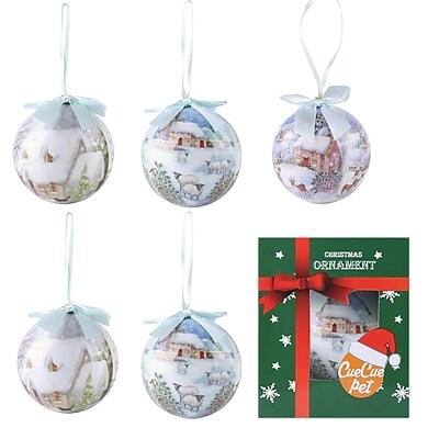 6 x Christmas tree ornament ball set Santa Clause Snow Home (806)