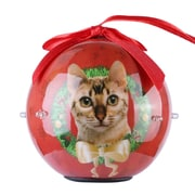 Red Twinkling Lights Christmas Tree  Ball Ornament home decor, Ginger Tabby (ORNDOG406)