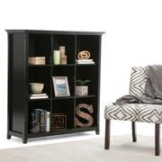 "Simpli Home Acadian 44""W x 16""D x 48""H Nine Cube Bookcase & Storage Unit in Black (AXCB222-BL)"