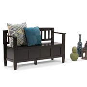 "Simpli Home Brooklyn 48""W x 17""D x 28""H Entryway Bench in dark Coffee Brown (3AXCBROBEN)"