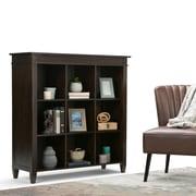 "Simpli Home Carlton 44""W x 16""D x 48""H Nine Cube Bookcase & Storage in Tobacco Brown (3AXCCRL-07)"