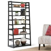 "Simpli Home Acadian 30""W x 15.39""D x 63""H Ladder Shelf Bookcase in Black (AXSS008KD-BL)"