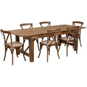 "Flash Furniture 8'x40"" Farm Table 6 Chair Set Pine Wood (XAFARM11)"