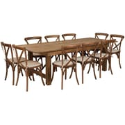 "Flash Furniture 8'x40"" Farm Table 10 Chair Set Pine Wood (XAFARM13)"
