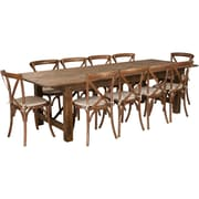 "Flash Furniture 9'x40"" Farm Table 10 Chair Set Pine Wood (XAFARM15)"