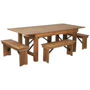 "Flash Furniture 7'x40"" Farm Table 4 Bench Set Pine Wood (XAFARM1)"