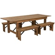 "Flash Furniture 8'x40"" Farm Table 4 Bench Set Pine Wood (XAFARM2)"