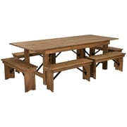 "Flash Furniture 8'x40"" Farm Table 6 Bench Set Pine Wood (XAFARM3)"