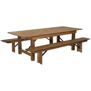 "Flash Furniture 8'x40"" Farm Table 2 Bench Set Pine Wood (XAFARM4)"