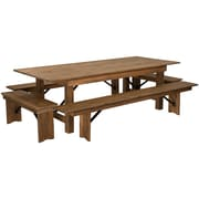 "Flash Furniture 8'x40"" Farm Table 4 Bench Set Pine Wood (XAFARM5)"