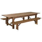 "Flash Furniture 9'x40"" Farm Table 2 Bench Set Pine Wood (XAFARM6)"