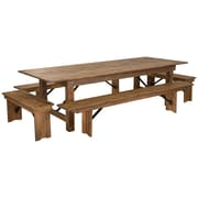 "Flash Furniture 9'x40"" Farm Table 4 Bench Set Pine Wood (XAFARM7)"