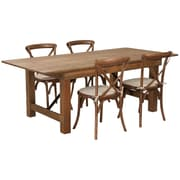 "Flash Furniture 7'x40"" Farm Table 4 Chair Set Pine Wood (XAFARM8)"