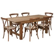 "Flash Furniture 7'x40"" Farm Table 6 Chair Set Pine Wood (XAFARM9)"