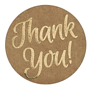 "Great Papers!® Foil Thank You Stickers on Kraft Paper, 1.57"", 250 per roll (24261429)"