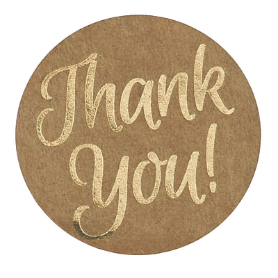 Great Papers!® Foil Thank You Stickers on Kraft Paper, 1.57