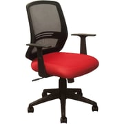 Advantage Black Mesh Office Chairs Contoured Red Padded Seat (KB-2012-RED)