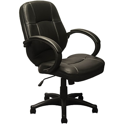 Advantage Mid-back Black Leather Executive Office Chairs (KB-9611B)