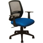 Advantage Black Mesh Office Chairs Contoured Blue Padded Seat (KB-2012-BLUE)