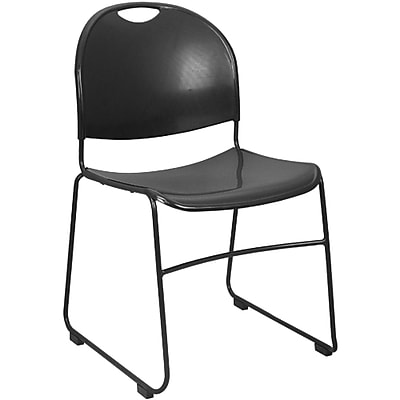 Advantage Black Plastic Stack Chair, Pack of 50, with 2 Dollies
