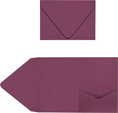 LUX A7 Pocket Invitations 50/Pack, Vintage Plum (LUX-A7PKT104-50)