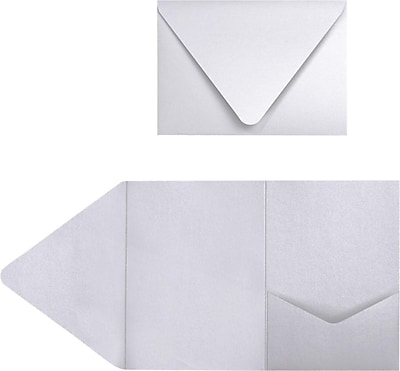 LUX A7 Pocket Invitations (5 x 7) 50/Pack, Silver Metallic (EX10LEBASMPF50)