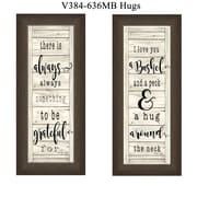 "TrendyDecor4U 27 in. x 11 in. ""Hugs"" Collection by Cindy Jacobs, Printed Framed Wall Art (V384-636MB)"