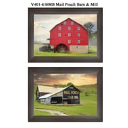 """TrendyDecor4U 15 in. x 21 in. """"Mail Pouch Barn and Mill"""" Collection by Lori Deiter, Printed Framed Wall Art (V401-636MB)"""