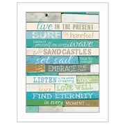 """TrendyDecor4U 18 in. x 14 in. """"Live in the Present"""" by Marla Rae, Printed Framed Wall Art (MA809-712W)"""