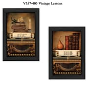 """TrendyDecor4U 21 in. x 15 in. """"Vintage Lessons"""" Collection by Robin-Lee Vieira, Printed Framed Wall Art (V357-405)"""