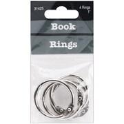 "Baumgartens Silver Book Rings, 1"", 4/Pkg (31425)"