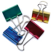 "Baumgartens Assorted Colors Large Binder Clips 1.25"", 4/Pkg (29740)"