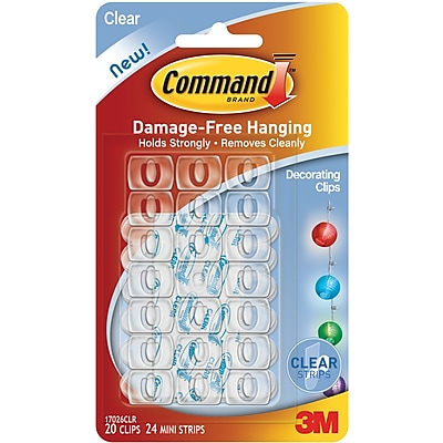 3M 20 Clips & 24 Strips Command Mini Decorating Clips, Clear(17026)