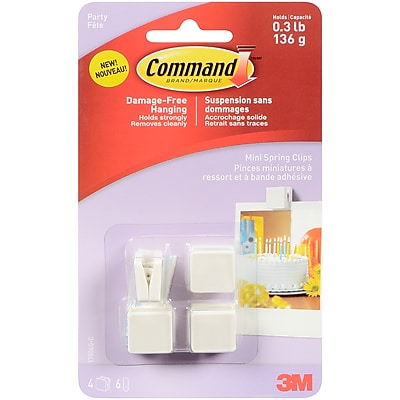 3M Command (TM) Party Mini Spring Clips, 4 Clips And 6 Mini Clear Strips/Pkg (17804)