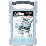 "ArtBin Gray W/Light Blue Quick View Box W/15 Lift-Out Bins, 13"" x 8"" x 2.375"" (6873AG)"