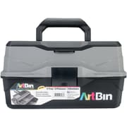 "ArtBin Black & Gray Lift Tray Box W/2 Trays & Quick Access Lid Storage, 8"" x 14"" x 7.5"" (6892AG)"