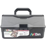 "ArtBin Black & Gray Lift Tray Box W/3 Trays & Quick Access Lid Storage, 9"" x 15.75"" x 8.375"" (6893AG)"