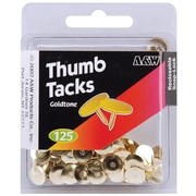 A & W Office Supplies Gold Thumbtacks, 125/Pkg (46118)