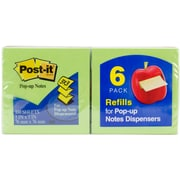 "3M Assorted Colors Post-It Pop-Up Note Refills, 3"" x 3"", 6/Pkg (R330-6)"