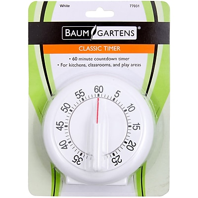 Baumgartens White Classic Timer, 1/Pkg (77031)