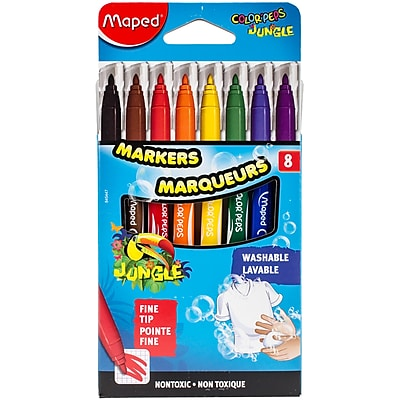 Maped Helix Usa Color'Peps Jungle Fine Tip Washable Markers, 8/Pkg (845447)