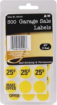 A & W Office Supplies Garage Sale Labels, .75