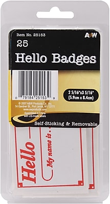 A & W Office Supplies Hello Badges Labels, 2.3125