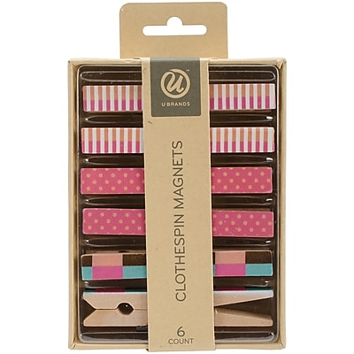 U Brands Retro Clothespin Magnets, 6/Pkg (966T0624)