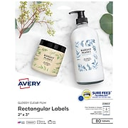 """Avery Easy Peel Laser/Inkjet Specialty Labels, 2"""" x 3"""", Glossy Clear, 8/Sheet, 10 Sheets/Pack (22822)"""
