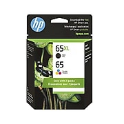 HP 65XL/65 Black High Yield and Tri-Color Standard Yield Ink Cartridge Refill, 2/Pack (6ZD95AN)